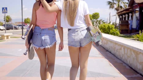 Back-side-of-two-girls-with-skateboards