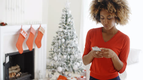 Young-woman-checking-her-Christmas-messages