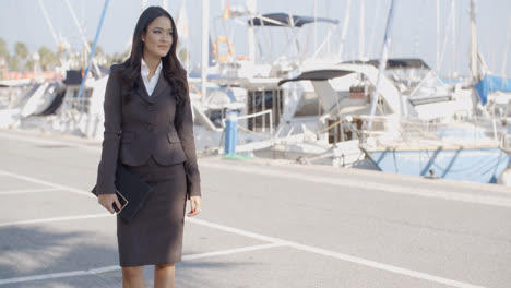 Business-Woman-Stand-In-Yacht-Club