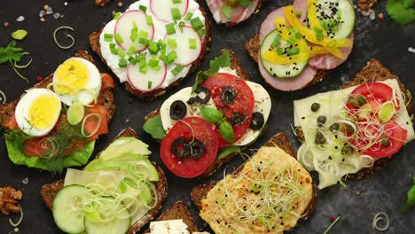 Sandwiches-with-different-kinds-of-toppings-Placed-in-rows-Vegetable-kitchen-concept