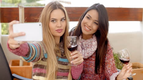 Two-Girls-Taking-Selfie-While-Holding-Wine