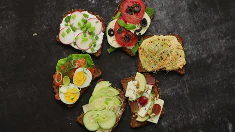 Healthy-vegan-sandwiches-made-from-homemade-buckwheat-bread-with-various-toppings