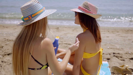 Young-woman-applying-sunscreen-on-a-friend