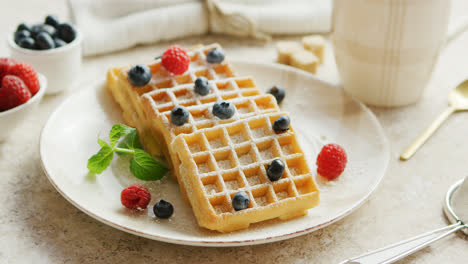 Waffles-and-berries-on-plate