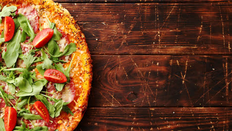 Delicious-italian-pizza-served-on-wooden-table
