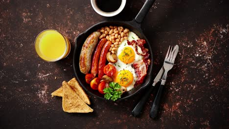 Delicious-english-breakfast-in-iron-cooking-pan