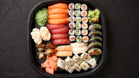 Various-kinds-of-sushi-on-plate-or-platter-set