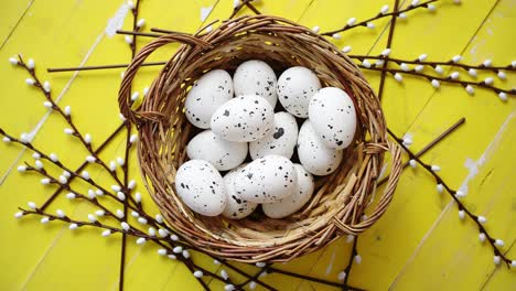 Whole-chicken-eggs-in-brown-wicker-basket-The-concept-of-Pascua-Holidays