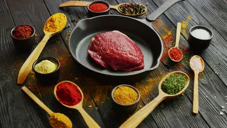 Spices-around-raw-meat