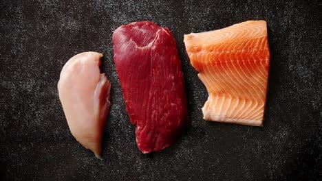 Fresh-raw-beef-steak-chicken-breast-and-salmon-fillet