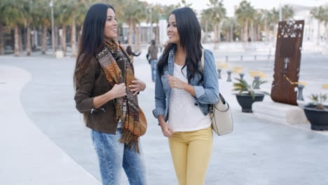 Two-trendy-young-woman-in-an-urban-park