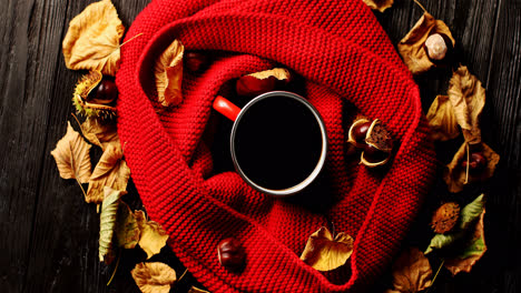 Leaves-and-nuts-around-scarf-and-beverage