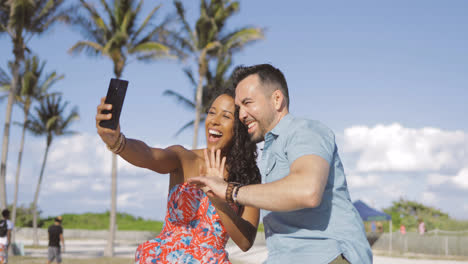 Smiling-couple-having-videocall-in-park