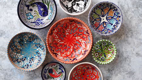 Collection-of-empty-moroccan-colorful-decorative-ceramic-bowls