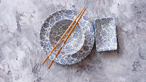 Empty-traditional-set-tableware-from-Asia-