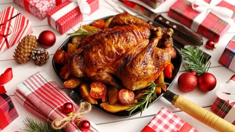 Roasted-whole-chicken-or-turkey-served-in-iron-pan-with-Christmas-decoration