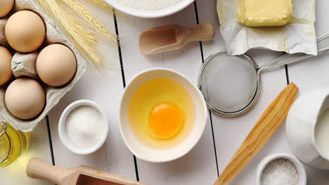 Utensils-and-pastry-ingredients-on-table