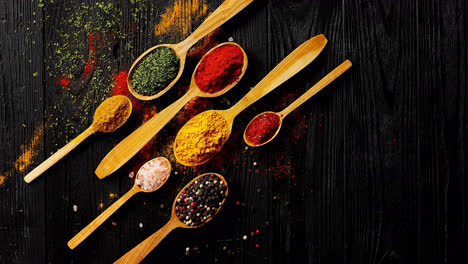 Different-spices-placed-in-spoons