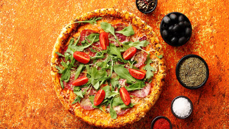 Tasty-pizza-on-a-rusty-background-with-spices-herbs-and-vegetables