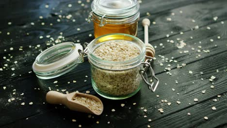 Oat-and-honey-in-glass-jars