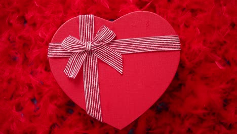 Heart-shaped-boxed-gift-placed-on-red-feathers-background