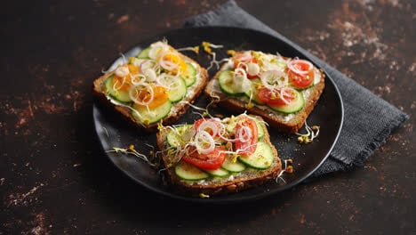 Healthy-toasts-with-cucomber-tomatoes-and-crumbled-feta-and-radish-sprouts