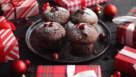 Christmas-chocolate-delicious-muffins-served-on-black-ceramic-plate