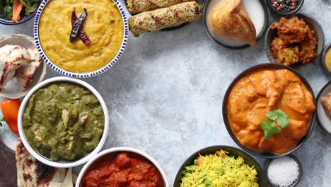 Assorted-indian-food-on-stone-background-Dishes-of-indian-cuisine