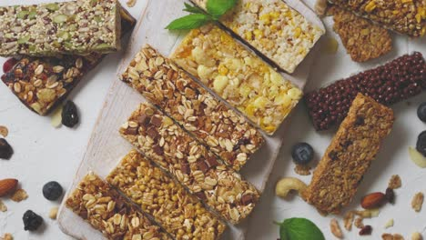 Various-kinds-of-protein-granola-bars-with-dry-fruits-and-berries