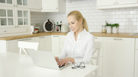 Young-woman-using-laptop-at-kitchen