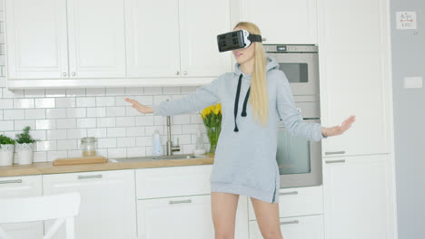 Woman-wearing-VR-headset