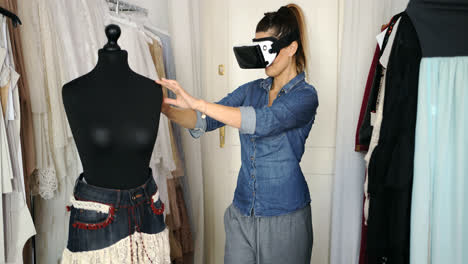 Female-in-VR-headset-working-in-parlour