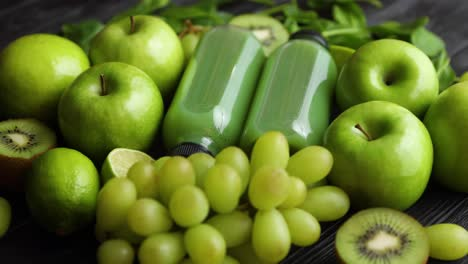 Fresh-fruits-and-vegetables-in-green-color-concept