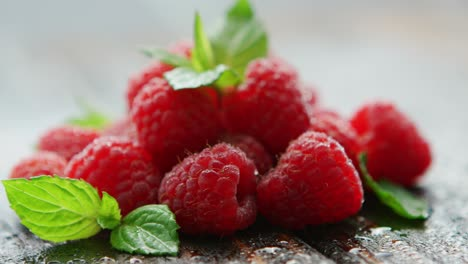 Ripe-appetizing-raspberry-with-leaves