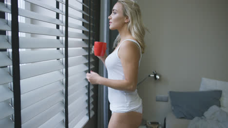 Woman-in-underwear-drinking-near-window