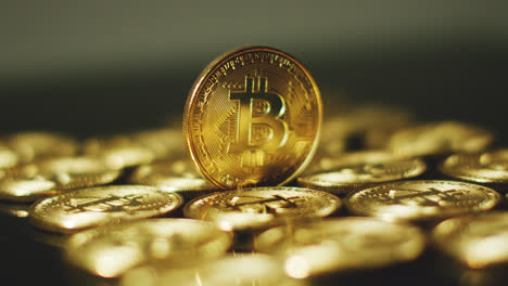 Golden-shimmering-bitcoins