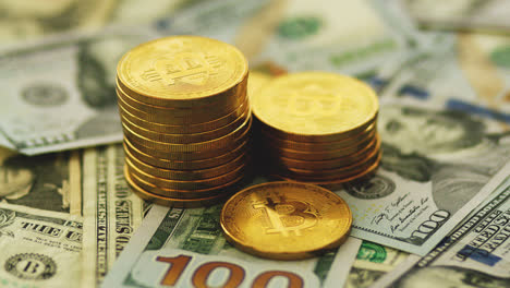 Golden-bitcoins-and-banknotes
