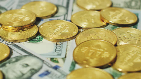 Bright-gold-bitcoins-with-dollars