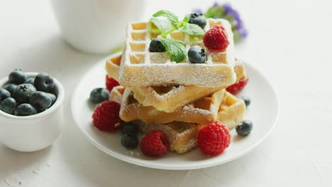 Waffles-on-plate-and-cup-of-coffee
