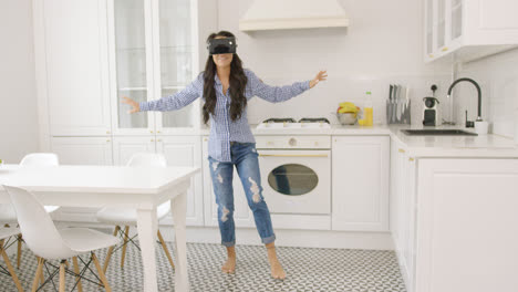 Female-enjoying-VR-headset-at-home