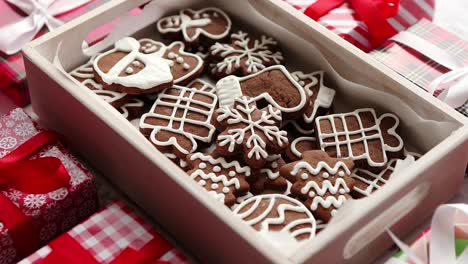 Delicious-fresh-Christmas-decorated-gingerbread-cookies-placed-in-wooden-crate
