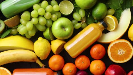Healthy-food-concept-Various-mixed-fruits-vegetables-and-juices-formed-in-rainbow