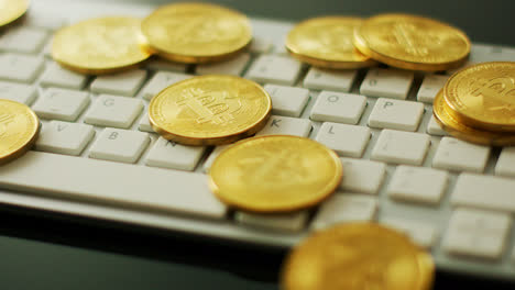 Golden-bitcoins-on-keyboard