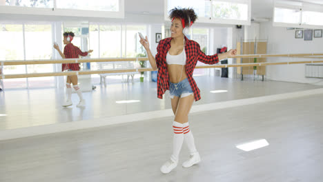 Dance-with-headphones-practices-to-music