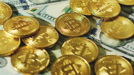 Glimmering-golden-coins-with-bitcoin-symbol