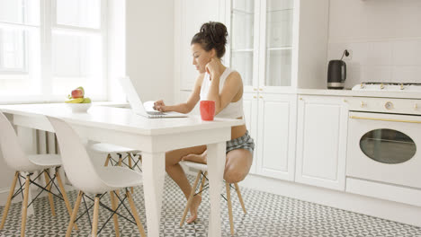 Female-sitting-in-kitchen-with-laptop