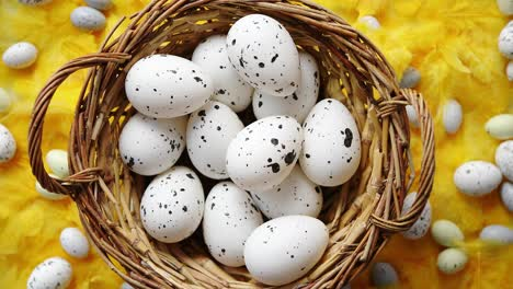 Easter-holidays-concept-White-dotted-chicken-Eggs-in-the-wicker