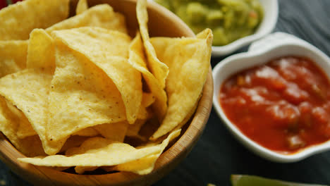 Nachos-served-with-dip-sauces-