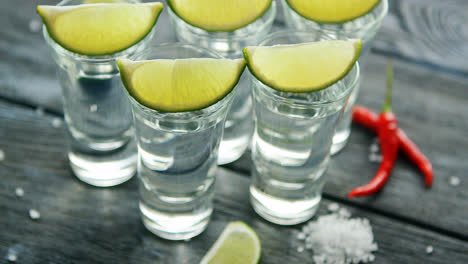 Tequila-shots-served-on-table-