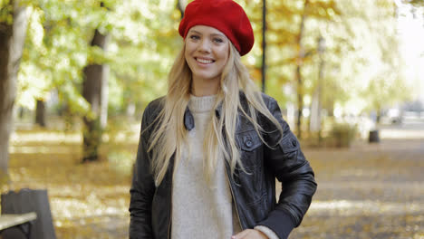 Happy-woman-in-red-beret